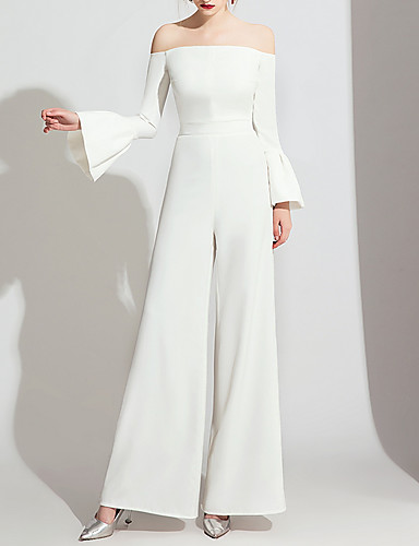 cheap Wedding Dresses-Jumpsuits Off Shoulder Floor Length Polyester Long Sleeve Formal / Simple Wedding Dresses with Side-Draped 2020