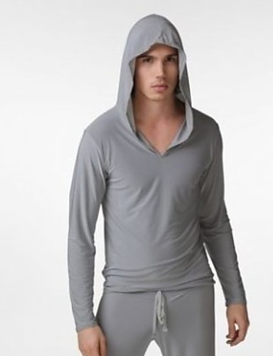 cheap Men in home-Men's Hooded Robes Pajamas Solid Colored
