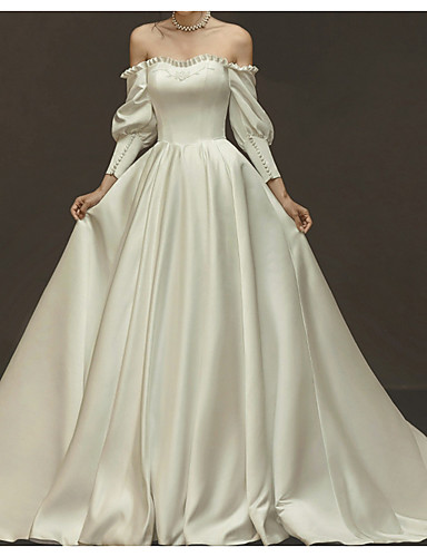 cheap Wedding Dresses-A-Line Off Shoulder Sweep / Brush Train Tulle Long Sleeve Beach Wedding Dresses with Bow(s) / Ruched 2020