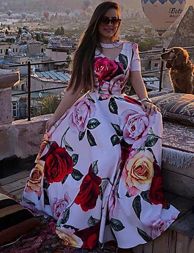 رخيصةأون فساتين بوهو-فستان نسائي A line متموج زهري طويل للأرض طباعة زهور V رقبة شاطئ