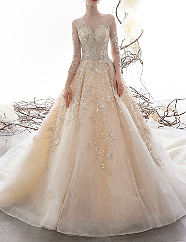 cheap Wedding Dresses-A-Line Jewel Neck Watteau Train Lace / Tulle 3/4 Length Sleeve Formal Illusion Sleeve Wedding Dresses with Lace Insert 2020