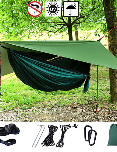 cheap See, No Longer Limited To Distance!-Camping Hammock with Mosquito Net Hammock Rain Fly Outdoor Portable Sunscreen Breathable Anti-Mosquito Ultra Light (UL) Parachute Nylon with Carabiners and Tree Straps for 2 person Camping / Hiking