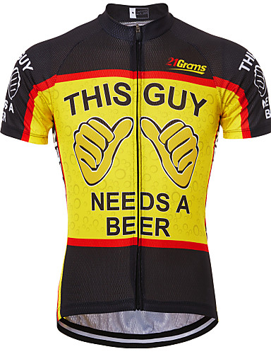 cheap Cycling Clothing-21Grams Men's Short Sleeve Cycling Jersey Black / Red Black / Yellow Red+Blue Retro Novelty Oktoberfest Beer Bike Jersey Top Mountain Bike MTB Road Bike Cycling Breathable Quick Dry Anatomic Design