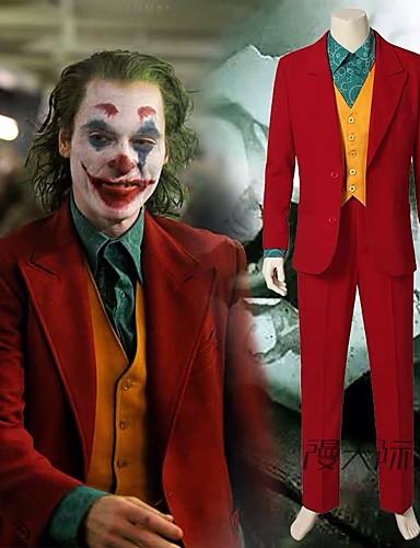 cheap Movie & TV Theme Costumes-Joker Cosplay Costume Outfits Men's Women's Movie Cosplay Cosplay Halloween Rainbow Coat Vest Shirt Halloween Carnival Polyster / Pants / Pants