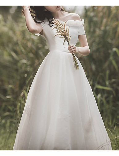cheap Wedding Dresses-A-Line Off Shoulder Ankle Length Satin / Tulle Short Sleeve Simple Little White Dress / Elegant Wedding Dresses with Buttons / Lace Insert 2020