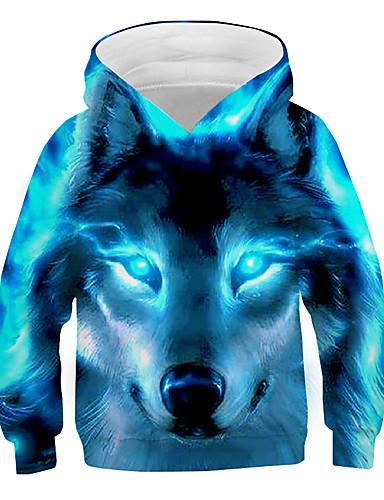 preiswerte Mode für Mädchen-Kinder Jungen Kapuzenpullover Langarm Wolf Fantastische Tierwesen Grafik 3D Tier Druck Kinder Ostern Oberteile Aktiv Cool Hellblau Marineblau Schwarz 3-13 Jahre