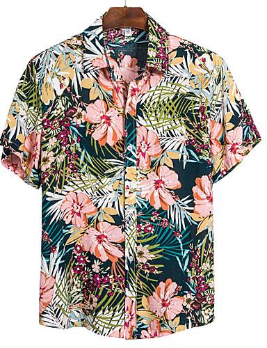 abordables Chemise hawaïen-Homme Quotidien Chemise Fleurie Manches Courtes Hauts Basique Bohème Col Classique Arc-en-ciel / Plage