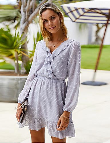 Χαμηλού Κόστους Για νεαρές γυναίκες-Γυναικεία Φόρεμα σε ευθεία γραμμή Μακρυμάνικο Συμπαγές Χρώμα Λαιμόκοψη V Μαύρο Μπεζ Γκρίζο Τ M L XL