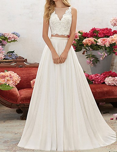 cheap Wedding Dresses-Two Piece V Neck Sweep / Brush Train Chiffon / Lace Sleeveless Beach Wedding Dresses with Lace Insert / Embroidery 2020