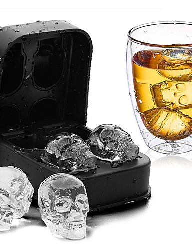 cheap Drinkware-DIY Silicone Skull Ice Box Four Connected Silicone Mold 1pcs