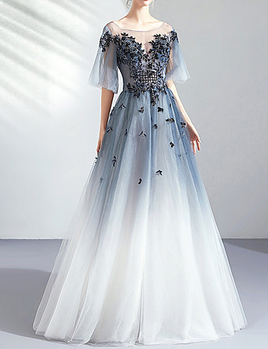 cheap Wedding Dresses-A-Line Jewel Neck Floor Length Tulle Short Sleeve Formal Wedding Dress in Color / Illusion Detail / Plus Size Wedding Dresses with Lace Insert / Appliques 2020