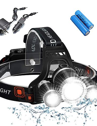 tanie lato rabatu-Czołówki Światła rowerowe Przednia lampka rowerowa Wodoodporny Można ładować 5000 lm LED 3 Emitery 4.0 tryb oświetlenia z bateriami i ładowarkami Wodoodporny Można ładować Odporne na czynniki