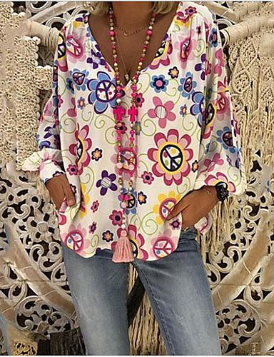 baratos Mais Vendidos em Oferta-Mulheres Tamanhos Grandes Floral Estampado Solto Blusa Casual Boho Diário Decote V Branco