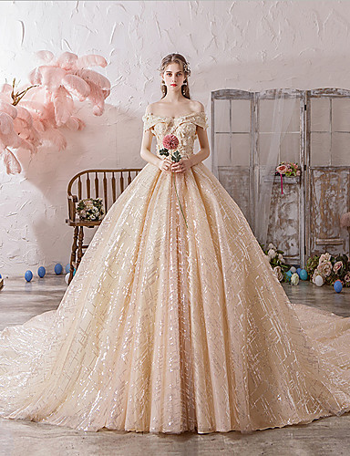 cheap Wedding Dresses-Ball Gown Off Shoulder Watteau Train Polyester / Lace / Tulle Short Sleeve Romantic / Sexy Wedding Dress in Color Wedding Dresses with Lace / Beading / Appliques 2020