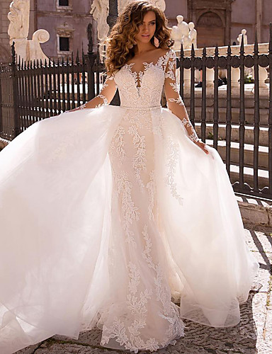 cheap Wedding Dresses-Mermaid / Trumpet V Neck Court Train Lace Long Sleeve Formal / Romantic / Casual Modern / Detachable / Illusion Sleeve Wedding Dresses with 2020