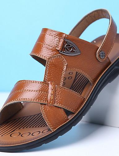 cheap Men's Shoes Hot Sale-Men's Pigskin Summer Sandals Breathable Yellow / Brown / Black