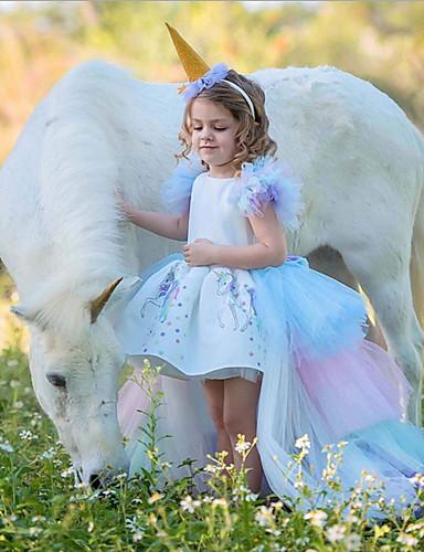 cheap Unicorn Dresses-Kids Girls' Easter Color Block Dress White