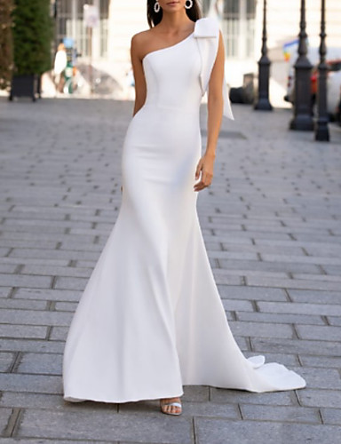 cheap Wedding Dresses-Mermaid / Trumpet One Shoulder Sweep / Brush Train Polyester Sleeveless Country Plus Size Wedding Dresses with Bow(s) / Draping 2020