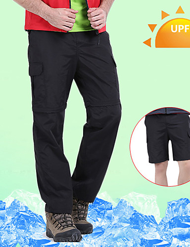 cheap Hiking Trousers & Shorts-Men's Hiking Pants Convertible Pants / Zip Off Pants Solid Color Summer Outdoor Waterproof Breathable Quick Dry Sweat-wicking Nylon Pants / Trousers Convertible Pants Bottoms Black Army Green Khaki