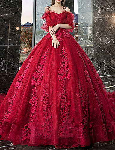 cheap Wedding Dresses-Ball Gown Off Shoulder Watteau Train Lace / Tulle Half Sleeve Formal / Romantic / Glamorous Plus Size / Red Wedding Dresses with Lace / Lace Insert / Appliques 2020