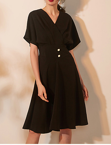 cheap Cocktail Dresses-A-Line Elegant Homecoming Cocktail Party Dress V Neck Short Sleeve Knee Length Spandex with Buttons Criss Cross 2020