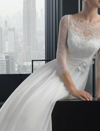 cheap Wedding Dresses-A-Line Off Shoulder Sweep / Brush Train Lace 3/4 Length Sleeve Beach Illusion Sleeve Wedding Dresses with Lace Insert / Embroidery 2020