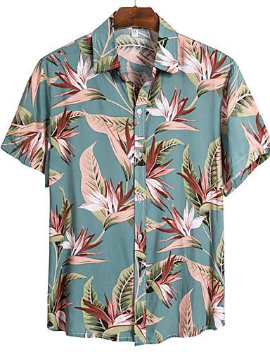 cheap Men's Shirts-Men's Floral Shirt Basic Boho Daily Beach Classic Collar Rainbow / Short Sleeve