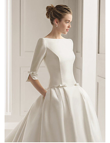 cheap Wedding Dresses-A-Line Bateau Neck Court Train Polyester Half Sleeve Sexy Plus Size Wedding Dresses with 2020
