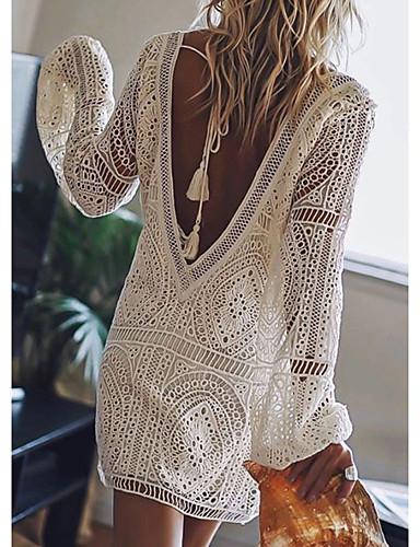 رخيصةأون دانتيل رومانسي-نسائي فستان ميني - كم طويل لون الصلبة دانتيل بدون ظهر الصيف منخفضة V رقبة مثيرة عطلة شاطئ دانتيل أبيض أسود أحمر أزرق البحرية S M L XL XXL
