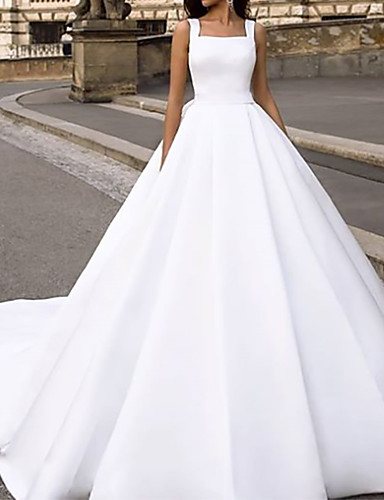 cheap Wedding Dresses-Ball Gown Wedding Dresses Square Neck Court Train Chiffon Over Satin Cap Sleeve Country with Bow(s) Draping 2020