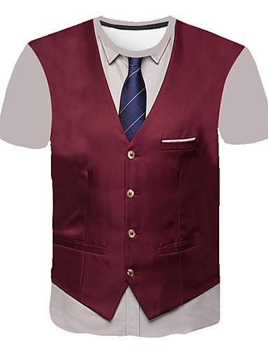 cheap Men's Tees & Tank Tops-Men's T-shirt 3D Abstract Graphic Print Short Sleeve Tops Business Streetwear Round Neck Black Wine Light gray / Work