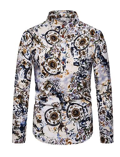 cheap Henley Shirts-Men's Daily Shirt Geometric Color Block Long Sleeve Tops Basic Rainbow