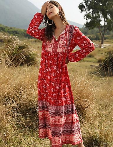 Χαμηλού Κόστους Για νεαρές γυναίκες-Γυναικεία Φόρεμα σε γραμμή Α Μακρύ φόρεμα - Μακρυμάνικο Γεωμετρικό Λαιμόκοψη V Ρουμπίνι Πράσινο Ανοικτό Τ M L XL