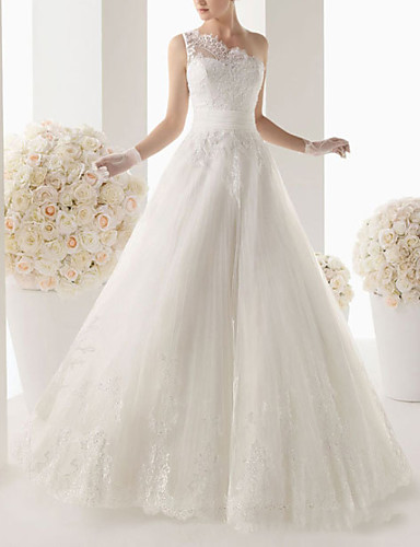 cheap Wedding Dresses-A-Line Wedding Dresses One Shoulder Sweep / Brush Train Lace Sleeveless Formal with Lace 2020