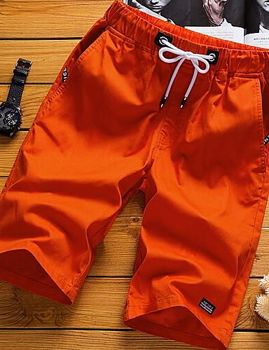 billige Herrebukser og -shorts-Herre Grunnleggende Store størrelser Bomull Shorts Bukser - Ensfarget Hvit Svart Oransje US36 / UK36 / EU44 / US38 / UK38 / EU46 / US40 / UK40 / EU48