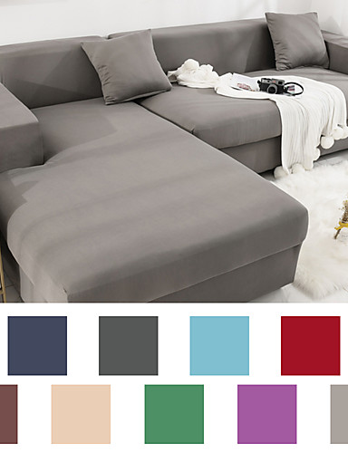 cheap Sofa Cover-Sofa Cover Couch Cover Furniture Protector Solid Color Soft Stretch Sofa Slipcover Super Strechable Cover Fit for Armchair/ Loveseat/ Three Seater/ Four Seater/ L Shape Sofa Easy to Install & Care  (F