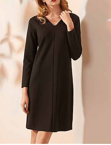 cheap Cocktail Dresses-Sheath / Column Minimalist Party Wear Cocktail Party Dress V Neck Long Sleeve Knee Length Spandex with Criss Cross 2020