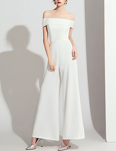 cheap Wedding Dresses-Jumpsuits Off Shoulder Floor Length Polyester Cap Sleeve Formal / Simple Wedding Dresses with Side-Draped 2020