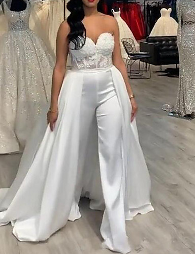 cheap Wedding Dresses-Jumpsuits V Neck Sweep / Brush Train Lace / Stretch Satin Sleeveless Country / Casual Plus Size Wedding Dresses with Draping / Appliques 2020