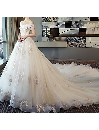 cheap Wedding Dresses in Colors-Ball Gown Off Shoulder Watteau Train Lace / Tulle Short Sleeve Formal / Romantic Wedding Dress in Color / Plus Size Wedding Dresses with Lace / Pearls / Lace Insert 2020