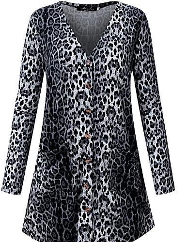 Women's Daily Spring & Summer Regular Jacket, Leopard Turndown 3/4 Length Sleeve Polyester Black / Yellow