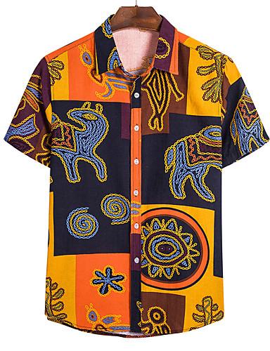 cheap Men's Shirts-Men's Geometric Shirt - Linen Daily Classic Collar Wine / Light Brown / White / Black / Blue / Red / Yellow / Khaki / Short Sleeve