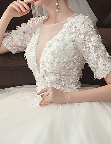 cheap Wedding Dresses-Ball Gown Jewel Neck Watteau Train Lace / Tulle Short Sleeve Formal Plus Size Wedding Dresses with Lace / Pearls / Lace Insert 2020