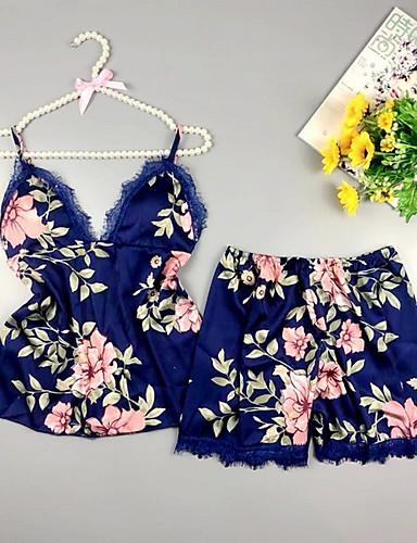 cheap Pajamas&Robes-Women's Deep V Suits Pajamas Floral