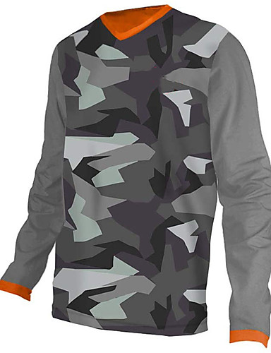 cheap Cycling Jerseys-21Grams Men's Long Sleeve Cycling Jersey Downhill Jersey Dirt Bike Jersey Spandex Polyester Jacinth +Gray Camo / Camouflage Bike Jersey Top Mountain Bike MTB Road Bike Cycling UV Resistant Breathable