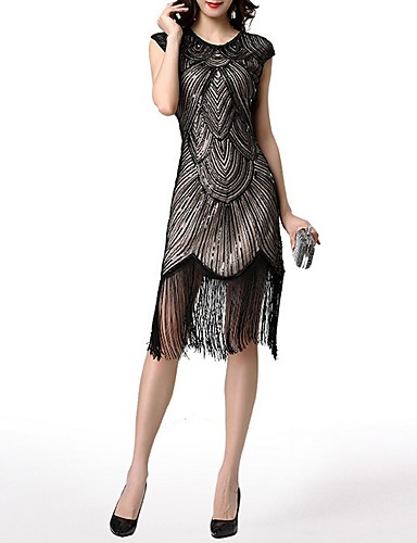 cheap Cocktail Dresses-Sheath / Column Roaring 20s 1920s Fashion Party Wear Cocktail Party Dress Jewel Neck Short Sleeve Knee Length Polyester with Sequin Tassel 2020