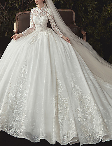cheap Wedding Dresses-Ball Gown High Neck Watteau Train Lace / Tulle Long Sleeve Formal Plus Size / Illusion Sleeve Wedding Dresses with Lace / Beading / Lace Insert 2020