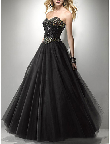 cheap Wedding Dresses-A-Line Strapless Floor Length Tulle Sleeveless Formal Black Wedding Dresses with Beading 2020