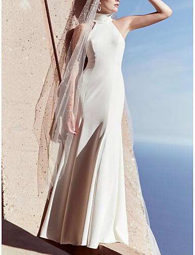 cheap Beach & Honeymoon Dresses-Sheath / Column High Neck Floor Length Satin Sleeveless Beach Plus Size Wedding Dresses with Draping 2020