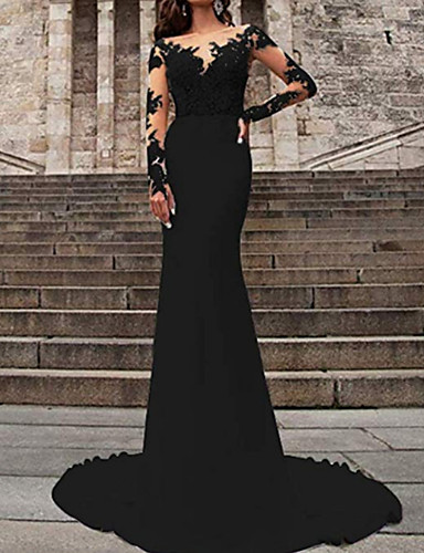 cheap Wedding Dresses in Colors-Mermaid / Trumpet V Neck Sweep / Brush Train Polyester Long Sleeve Formal Plus Size / Black / Modern Wedding Dresses with Ruffles / Draping 2020